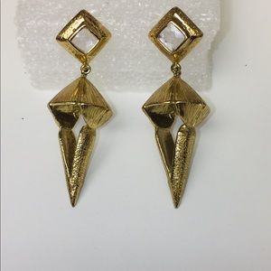 MELINDA MARIA GOLD PLATED CAGE EARRINGS WITH CZ